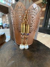 Load image into Gallery viewer, Custom Bullet Bead & Pearl Drop Earrins