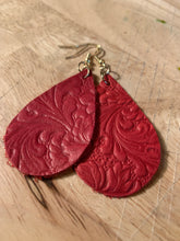Load image into Gallery viewer, Leather Earrings Red Embossed