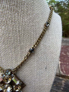 Vintage Gold Necklace with Rhinestone Pendant