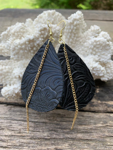 Black Embossed Leather Earrings with Gold Chain Accent