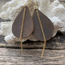 Load image into Gallery viewer, Rustic Leather Earrings with Gold Chain Accent