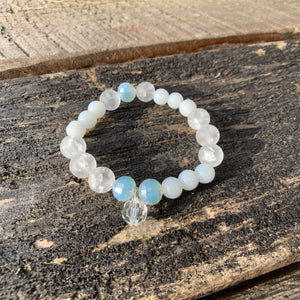 Glass Faceted & Pearl Beaded Bracelet