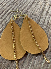 Load image into Gallery viewer, Leather Earrings with Gold Chain Accent