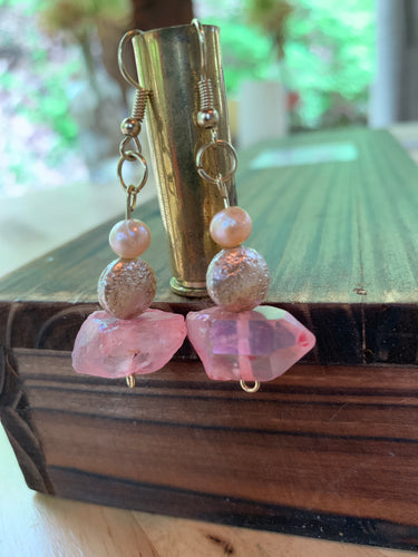 Peach Chunk Quartz & Fresh Water Pearl Earrings