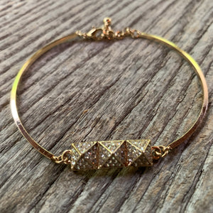 Gold Bracelet with Geometric Rhinestone Accent