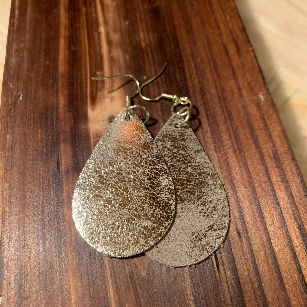 Leather Earrings with Metallic Detail