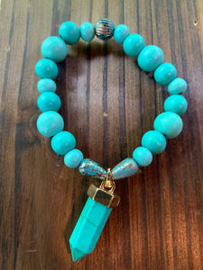 Turquoise Wooden & Metal Beaded Bracelet with Turquoise Charm