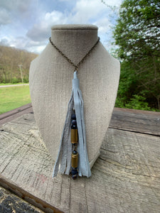 C&P Custom Bullet Necklace with Leather Tassel