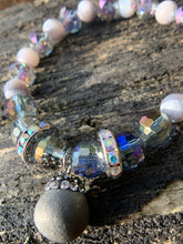 Load image into Gallery viewer, Silver Druzy Agate, Faceted Glass & Rhinestone Beaded Bracelet