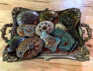 Vintage Running Horse Belt Buckle with Gorgeous Patina