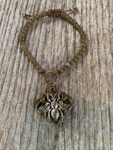 """Busy Bee"" Metal Beaded Adjustable Bracelet"