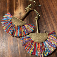 Load image into Gallery viewer, Multi-colored Half Moon Fringe Earrings