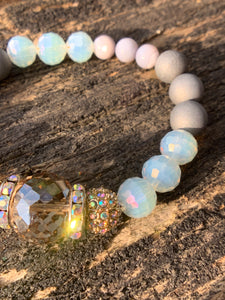 Silver Faceted Glass, Mother of Pearl & Rhinestone Beaded Bracelet