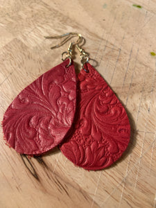 Leather Earrings Red Embossed