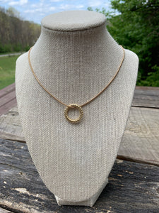 Simple Gold Chain with Textured Gold Disk