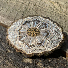 Load image into Gallery viewer, Private Collection Vintage Crumline Heavy Silver Plate on Jewelers Bronze Belt Buckle