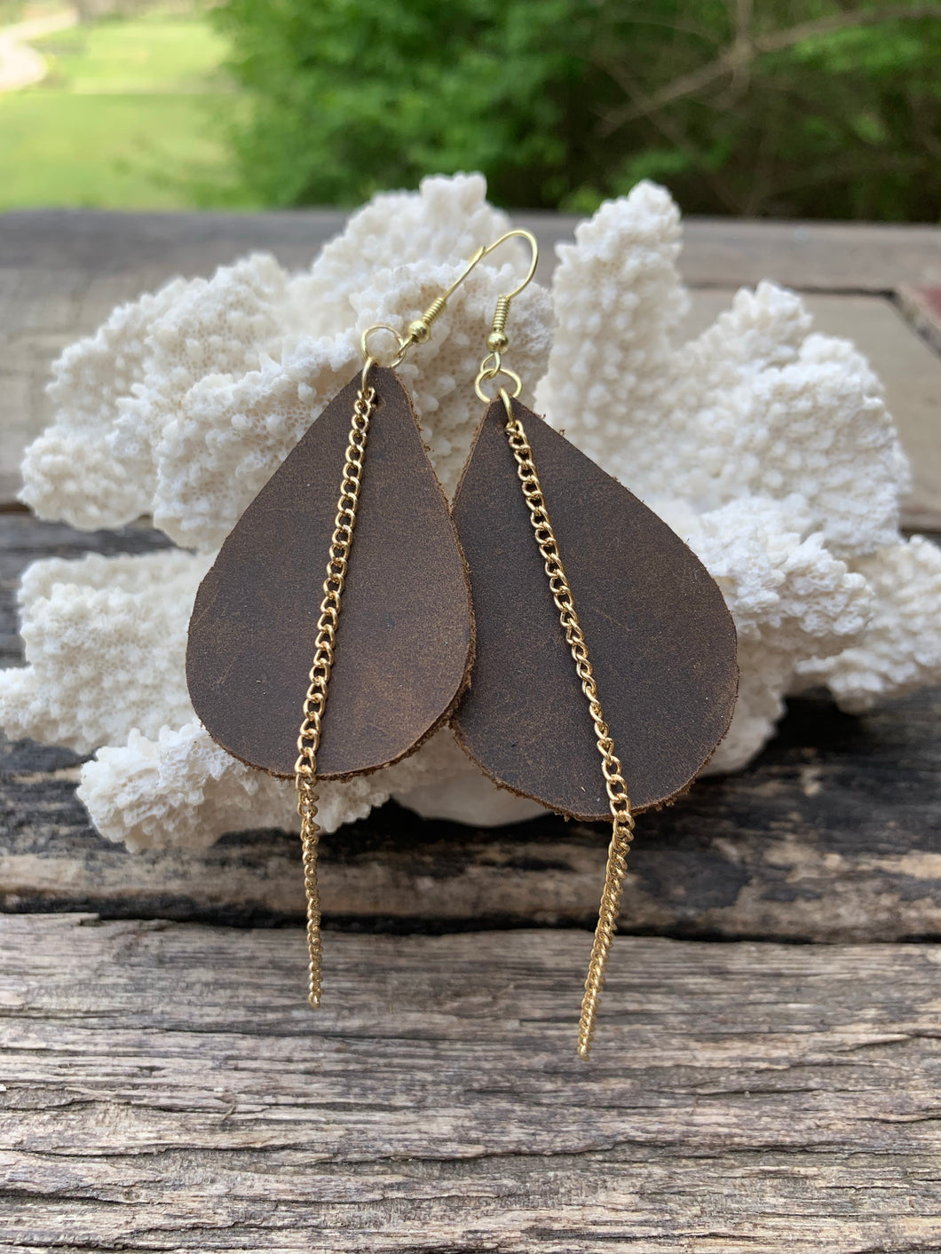Rustic Leather Earrings with Gold Chain Accent