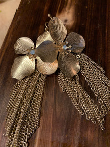 Gold Flower & Tassel Earrings