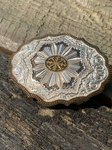 Private Collection Vintage Crumline Heavy Silver Plate on Jewelers Bronze Belt Buckle