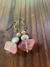 Load image into Gallery viewer, Peach Chunk Quartz & Fresh Water Pearl Earrings