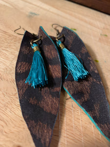 Leather Safari Printed Pigskin with Turquoise Tassels & Edging