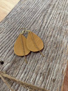Leather Earrings with Gold Chain Accent