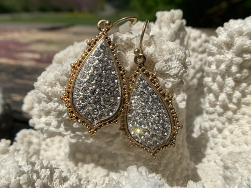 Teardrop Gold & Rhinestone Earrings