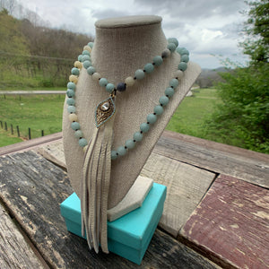 Handmade Beaded Necklace with Leather Tassel