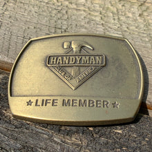 Load image into Gallery viewer, Vintage Brass Handyman of America Life Member Belt Buckle