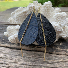Load image into Gallery viewer, Black Embossed Leather Earrings with Gold Chain Accent