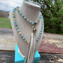 Load image into Gallery viewer, Handmade Beaded Necklace with Leather Tassel