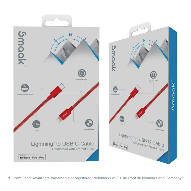Smaak™ Tourer 1.2m Double Braid Nylon Cable Lighting to USB-C - Red