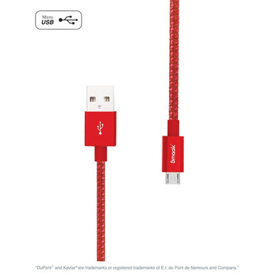 Tourer 2m Double Braid Nylon Cable Micro USB Red