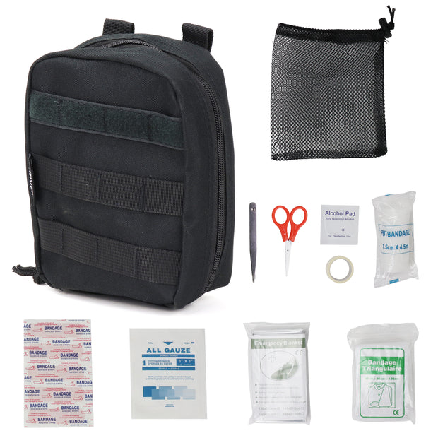 Compact First Aid Kit, Individual Pouch with First Aid Supplies, MOLLE Webbing