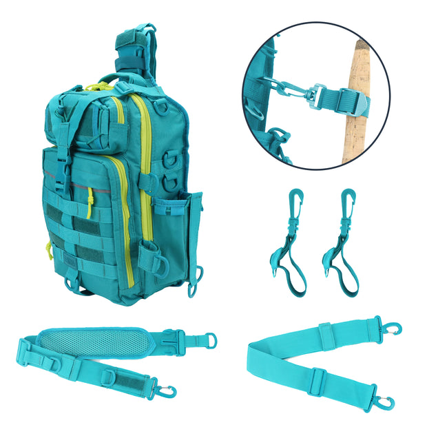 Deluxe Fishing Sling Bag with Fishing Rod Holder