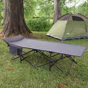 XL Camping Cot, Heavy Duty Folding Travel Bed with Accessory Pocket