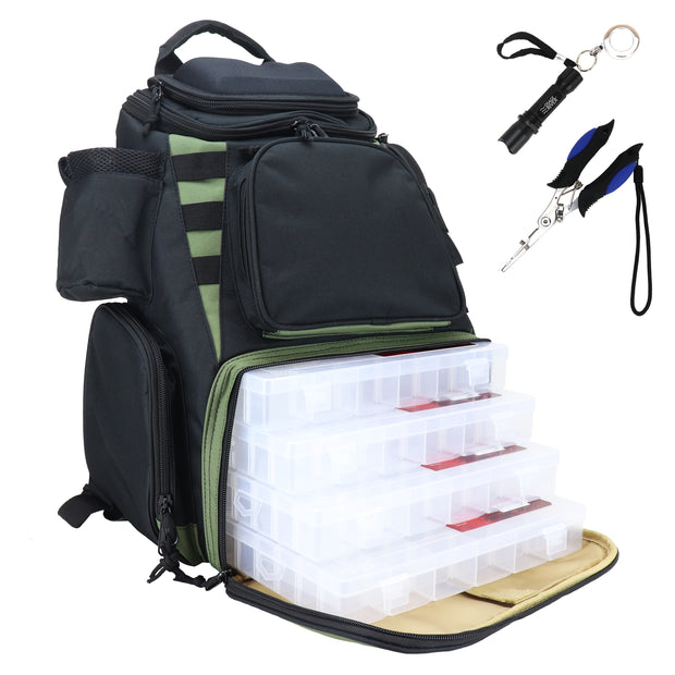 Osage River ULTIMATE Fishing Tackle Backpack with space for up to 4 Large Trays Large Waterproof Tackle Bag Storage with Protective Rain Cover.