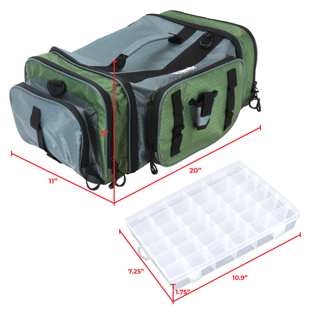 Large Tackle Bag, Soft Sided Front Loader Fishing Bag with Pliers Holder