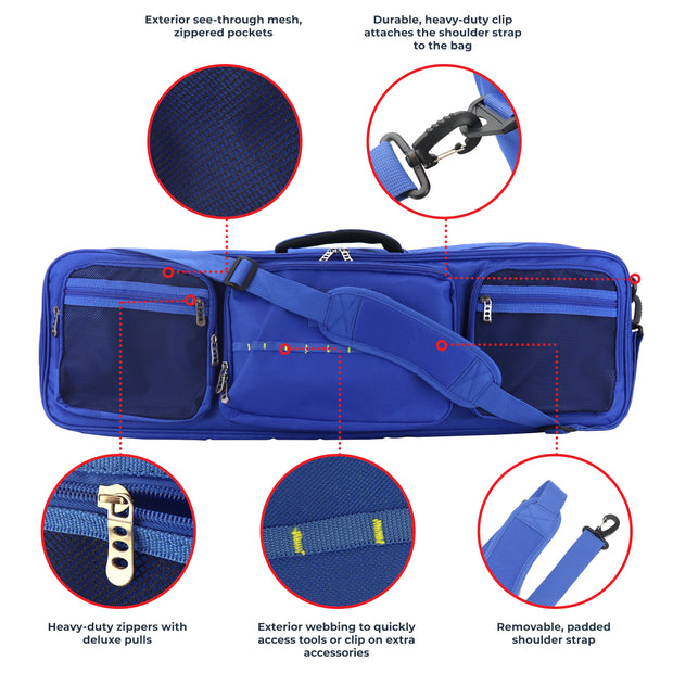 Fishing Rod Travel Bag with Adjustable Dividers, Large Tackle and Gear Case, Heavy-Duty Zippers