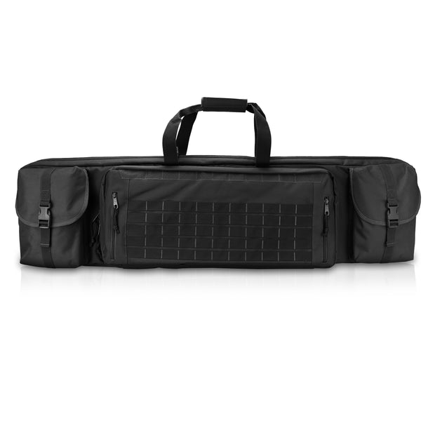 "Tactical Double Long Rifle Carbine & Shotgun Case with Handgun Pistol Storage, Locking Zippers, and Firearm Backpack Available in 36"" 42""46"" 51"" 55"""