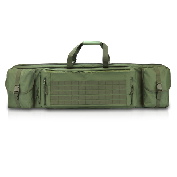 Double Rifle Case with Pistol Storage, Tactical Range Bag with Locking Zippers