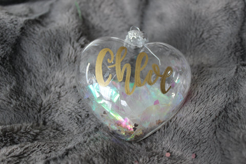 Glass Heart Shaped Christmas Bauble