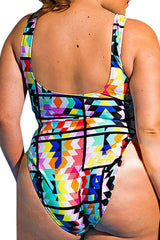 Plus Size Colorful Geometric Print High Cut One Piece Swimsuit
