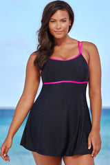 Plus Size Contrast Color Trim Swim dress