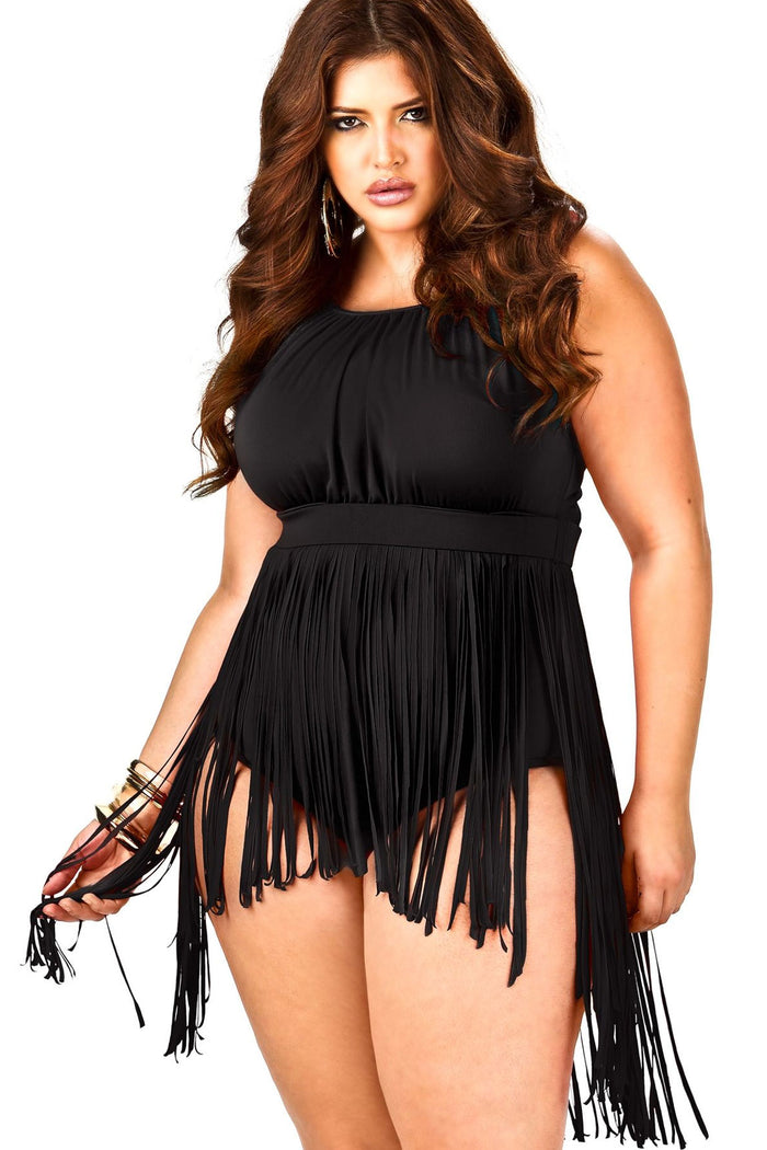 Plus Size Fringed Detail One Piece Swimsuit