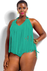 Plus Size Fringed Front Halter One Piece Swimsuit