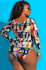 Plus Size Geometric Printed Long Sleeve Crop Bikini Swimsuit