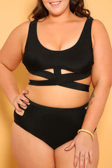 Plus Size Halter Bandage High Waisted Bikini Swimsuit