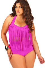 Plus Size Halter Fringed High Waisted Bikini Swimsuit