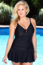 Plus Size Key Hole Front Ruched Swim dress